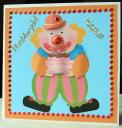 Clown with Cake -Easy Card Front with decoupage