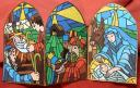 Stained Glass Xmas Nativity, Shaped Card