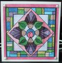 Stained glass flower pyramid