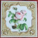 6 x 6 Vintage Rose - Butterfly Decoupage Gold Square Card