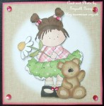 cup473162_5 - card02 - Little Flower Daisy Girl & Teddy 4x4 Quick Card